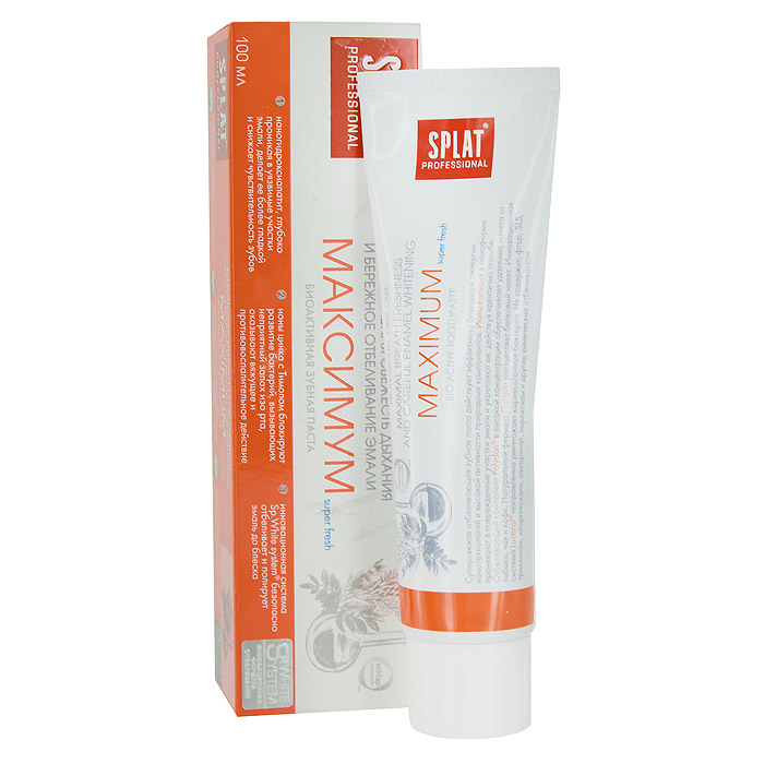 Зубная паста Splat Professional Maximum/Максимум, биоактивная, 100 млМК-149Инновационная зубная паста с наногидроксиапатитом, ионами цинка и растительными экстрактами предназначена для максимального освежения полости рта, эффективной защиты от кариеса и укрепления эмали.Суперсвежая отбеливающая зубная паста действует эффективно благодаря синергии нанотехнологий и высокой активности природных компонентов.Ионы кальция в наноформе проникают в поврежденные участки эмали и укрепляют ее, действуя идентично пломбе.Отбеливающий компонент Polydon в высокой концентрации обеспечивает удаление налета от табака, чая и кофе.Натуральный фермент Папаин расщепляет белковый налет.Ионы цинка в сочетании с природным антисептиком Тимолом блокируют развитие болезнетворных бактерий, вызывающих неприятный запах изо рта.Инновационная система Luctatol направленно уничтожает кариесогенные бактерии.Не содержит: SLS, триклозан, хлоргексидин, сахаринат, пероксид.Без фтора. Активные компоненты:Наногидроксиапатит, Polydon, цитрат цинка, Папаин, комплекс ферментов SEBOMINE, экстракт лакричника, Тимол. Клинически доказано: Дезодорирующий эффект - 36,36% Отбеливающая эффективность - 1 тон за 4 недели Пролонгированный очищающий эффект - 69,45% Противокариесный эффект - 66,67% Снижение повышенной чувствительности зубов - 61,70% Реминерализующая эффективность - 66,67% Противовоспалительная икровеостанавливающая эффективность - до 71,20 % Эффект: Наногидроксиапатит, глубоко проникая в уязвимые участки эмали, делает ее более гладкой и снижает чувствительность зубов. Ионы цинка с Тимолом блокируют развитие бактерий, вызывающих неприятный запах изо рта, оказывают вяжущее и противовоспалительное действие. Инновационная система Sp.White system безопасно отбеливает и полирует эмаль до блеска. Характеристики: Объем: 100 мл. Размер упаковки: 18 см x 5 см x 4 см. Изготовитель: Россия. Товар сертифицирован.