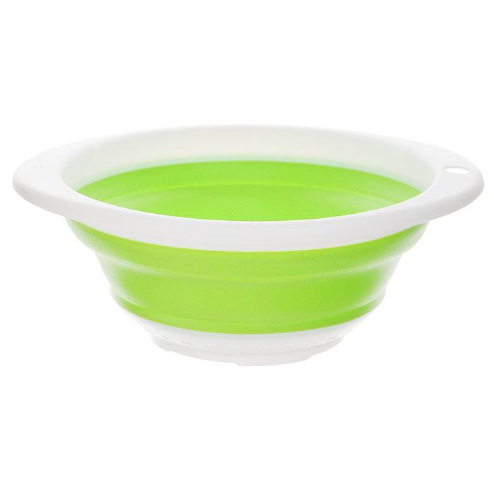 Дуршлаг складной Oriental Way, цвет: салатовый, 23 см х 21 см8863Складной дуршлаг Oriental Way станет полезным приобретением для вашей кухни. Он изготовлен из высококачественного пищевого силикона и пластика. Дуршлаг оснащен двумя удобными ручками. Одна ручка снабжена специальным отверстием для подвешивания. Изделие прекрасно подходит для процеживания, ополаскивания и стекания макарон, овощей, фруктов. Дуршлаг компактно складывается, что делает его удобным для хранения.Можно мыть в посудомоечной машине.Размер (по верхнему краю): 23 см х 21 см.Внутренний диаметр: 18,5 см.Максимальная высота: 9 см.Минимальная высота: 3 см.