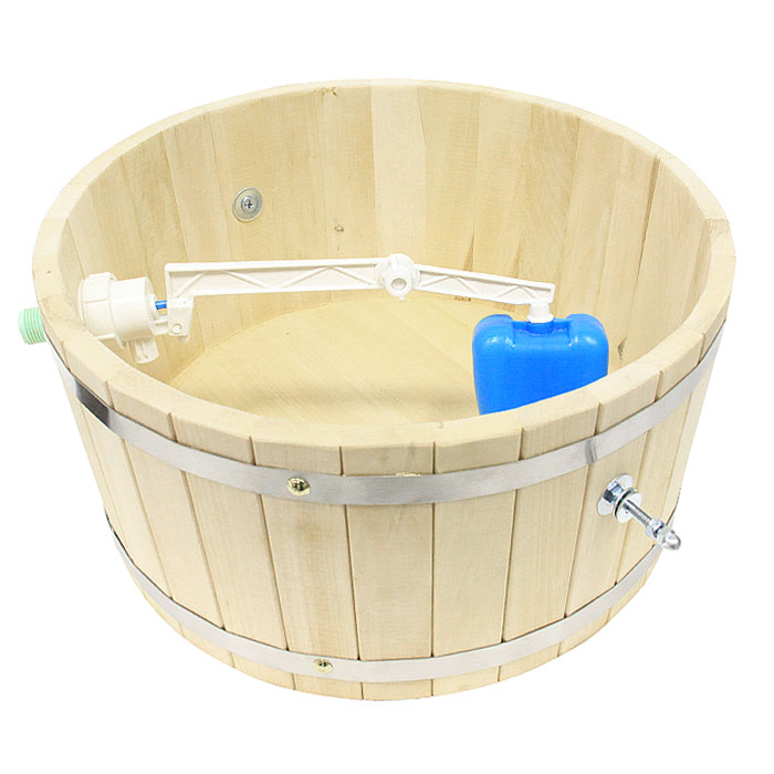 Обливное устройство Невский банщик для бани и сауны, 10 лБ1341Обливное устройство Невский банщик превосходно дополнит банную процедуру! Такое устройство позволит вам принимать контрастный душ после парной, который создаст у вас ощущение бодрости, свежести, зарядит хорошим настроением, поможет закалить организм и повысить иммунитет.Обливное устройство выполнено из деревянных шпунтованных клепок, стянутых двумя обручами из нержавеющей стали. Для изготовления клепок использовалась натуральная древесина липы. В комплект также входит выпускной клапан, который поможет вам регулировать поступление воды. Соединение обливного устройства осуществляется гибким шлангом (не входит в комплект) от водопровода или другого источника воды через хвостовик впускного клапана. Специальный шнур позволяет с удобством пользоваться обливным устройством.Обливное устройство может монтироваться как к стенам, так и к потолку помещения (система крепления входит в комплект). Характеристики: Материал: дерево (липа), пластик, нержавеющая сталь. Диаметр обливного устройства по верхнему краю:39,5 см. Высота стенки обливного устройства:19 см. Толщина стенки обливного устройства:1,5 см. Объем:10 л. Размер кронштейна (2 шт):35 см х 29,5 см х 2 см. Производитель:Россия.