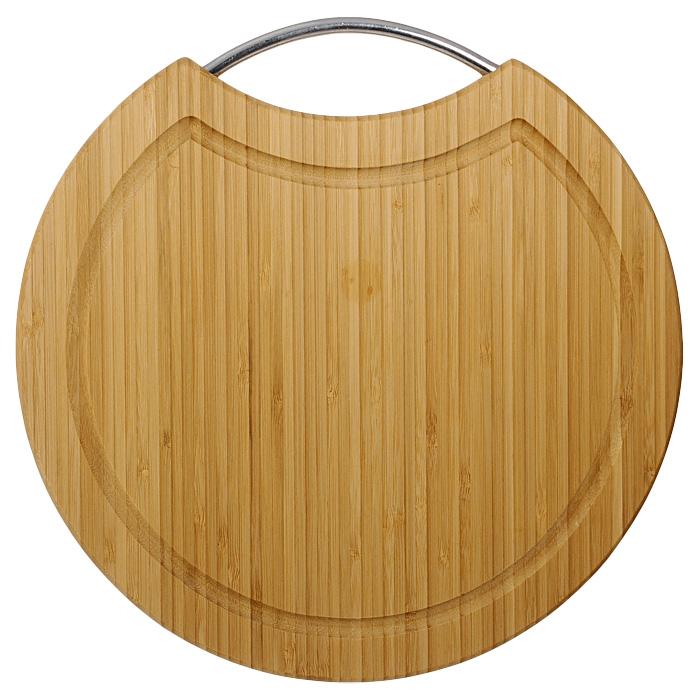 """Круглая разделочная доска """"Oriental way"""" с ручкой из нержавеющей стали изготовлена из высококачественной древесины бамбука. Доска прекрасно подходит для приготовления и сервировки пищи.Особенности разделочной доски """"Oriental way"""":  сделана из природного материала,  гармонирует с любым интерьером,   высокое качество шлифовки поверхности,   двухслойное покрытие пищевым лаком, безопасным для здоровья человека,   степень влажность 8-10%, не трескается и не рассыхается,   высокая плотность структуры древесины,   устойчива к механическим воздействиям,  долгий срок службы,  не впитывает влагу и запахи,   не предназначена для мытья в посудомоечной машине. Характеристики: Материал: бамбук, нержавеющая сталь. Диаметр доски:  30,5 см. Толщина доски:  1,6 см. Производитель: Китай. Артикул: BC6039. Торговая марка """"Oriental way"""" известна на рынке с 1996 года. Эта марка объединяет товары для кухни, изготовленные из дерева и других материалов. Все товары марки """"Oriental way"""" являются безопасными для здоровья, экологичными, прочными и долговечными в использовании."""