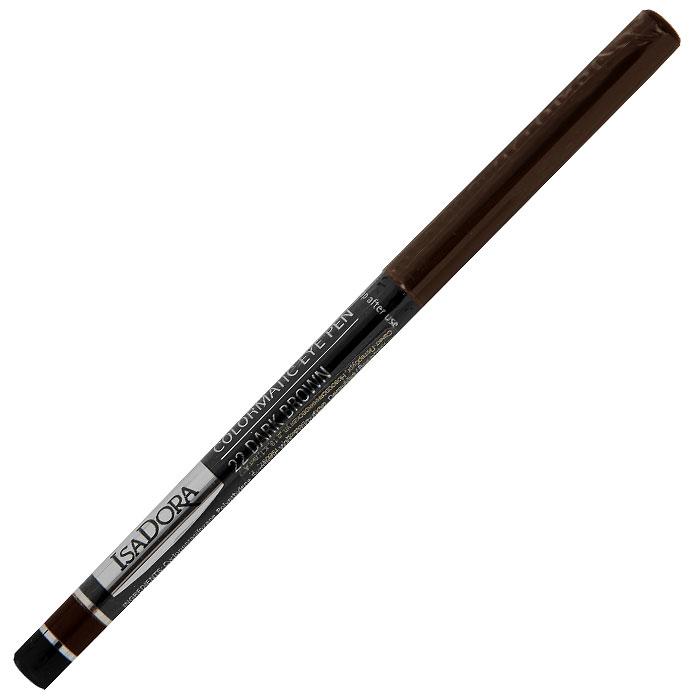 Карандаш для глаз Isa Dora Colormatic, тон №22, цвет: темно-коричневый, 0,28 г113522Придайте выразительности своим глазам с помощью карандаша Isa Dora Colormatic.Насыщенная красящими пигментами, но при этом очень мягкая формула этого водостойкого карандаша позволяет создать четкую линию, которую можно легко растушевать по вашему желанию. Карандаш удобно наносить, а автоматический механизм обеспечивает надежное перемещение грифеля в обоих направлениях.Не требует затачивания. Чтобы слегка заострить или просто обновить стержень, достаточно провести им по бумаге, чтобы сделать его острее.Подходит для людей с чувствительными глазами и носящих контактные линзы. Характеристики:Вес: 0,28 г. Тон: №22 (темно-коричневый). Производитель: Швеция. Артикул: 113522. Товар сертифицирован.