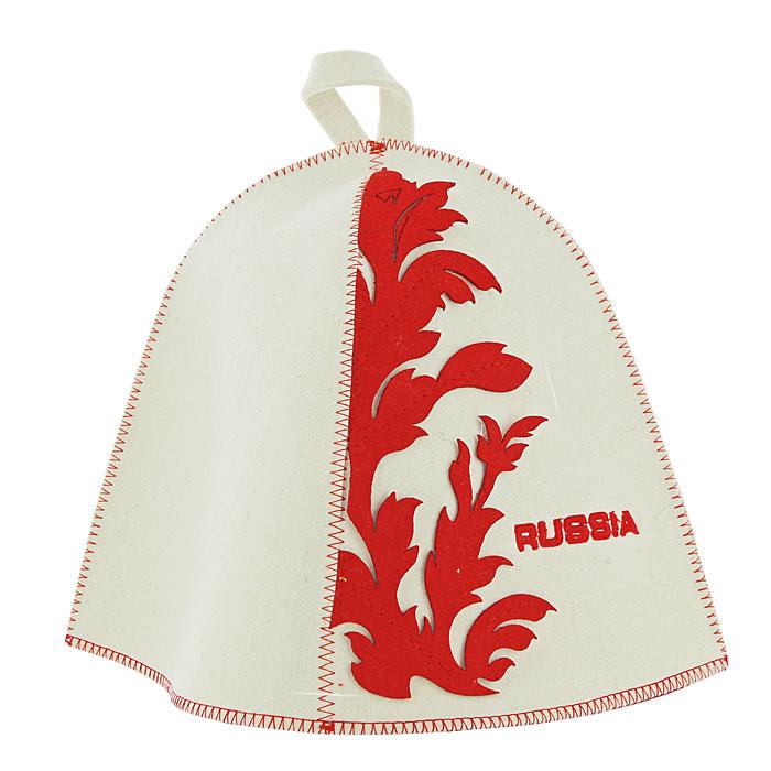Шапка для бани и сауны RUSSIA, фетр, цвет: белыйБ4551Традиционная шапка для бани и сауны изготовлена из белого фетра и украшена вышитой надписью RUSSIA и яркими аппликациями из фетра красного цвета. Шапка для бани и сауны RUSSIA оригинального дизайна не оставит ее обладателя незамеченным. Она защитит вас от появления головокружения в бане, ваши волосы от сухости и ломкости, а голову от перегрева.Красивый узор и яркие цвета не оставят обладателя данной шапки без внимания. Характеристики: Материал: шерсть. Диаметр основания шапки: 36 см. Высота шапки: 26 см. Производитель: Россия. Артикул: Б4551.
