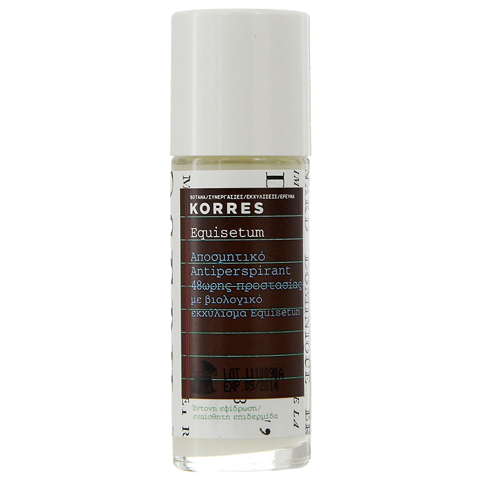 Korres Дезодорант шариковый с экстрактом хвоща, для чувствительной кожи, 30 мл5203069043130Без парабенов, без спирта, гипоаллергенный, не оставляет следов. Дезодорант, который обеспечивает комфорт чувствительной кожи на 48 часов. Входящие в состав натуральные активные компоненты и экстракт хвоща обеспечивают эффективную защиту от пота и неприятного запаха. Активный компонент ромашки – бисаболол – предотвращает появление раздражений, смягчая и увлажняя кожу.• Соли алюминия – вяжущие, антибактериальные свойства, защита от пота и раздражений • Хвощ – обладает антибактериальными, дезинфицирующим, ранозаживляющим, вяжущим свойствами • Бисабол – устраняет раздражения, обладает противовоспалительным действием • Компоненты противомикробного действия – 100% растительного происхождения, подавляют активность бактерий, являющихся причиной неприятного запахаНаносить каждый день утром и/или вечером на чистую, сухую кожу.