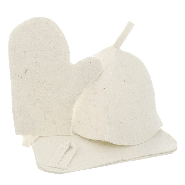 Набор для бани и сауны Нot Pot, цвет: светло-бежевый, 3 предмета42013Набор для бани Нot Pot включает в себя шапку, коврики рукавицу. Изделия выполнены из лавсана, предметыкомплекта обладают великолепными гигроскопичнымисвойствами и защищают от высоких температур впарной. Оригинальный дизайн изделий добавит эстетикибанным процедурам.Такой набор поможет с удовольствием и пользойпровести время в бане, а также станет чудеснымподарком друзьям и знакомым, которые по достоинствуего оценят при первом же использовании. Рекомендуется стирка при температуре. Размер коврика: 40,5 х 35 см.Обхват головы: 78 см.Размер рукавицы: 29 х 22 см.