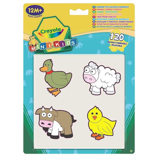 """Набор больших наклеек """"Животные"""" содержит 30 листов по четыре больших наклейки с забавным изображением животного на каждом. Благодаря большим размерам, даже самым маленьким детям будет удобно отклеивать наклейки и украшать ими различные предметы. Наклейки """"Животные"""" являются многоразовыми наклейками, что еще больше привлечет внимание малыша. Порадуйте своего ребенка таким замечательным подарком!   Характеристики:Материал: ПВХ. Размер листа с наклейками: 15 см x 15 см. Средний размер наклейки: 6 см x 5,5 см. Размер упаковки: 18,5 см x 25 см x 0,5 см."""