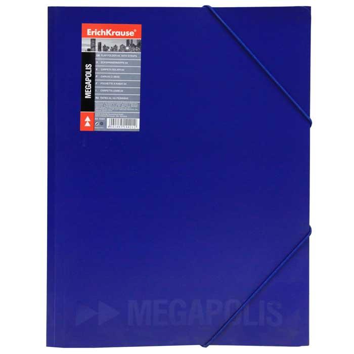 Папка на резинке Erich Krause Megapolis, цвет: синий14421Папка Erich Krause Megapolis с тремя клапанами - удобный и практичный офисный инструмент, предназначенный для хранения и транспортировки рабочих бумаг и документов формата А4. Изготовлена из жесткого фактурного пластика синего цвета с частичным лакированием и закрывается при помощи угловых резинок. Согнув клапаны по линии биговки, можно легко увеличить объем папки, что позволит вместить большее количество документов. С такой папкой ваши документы всегда будут в полном порядке!Характеристики:Материал: пластик, текстиль. Цвет: синий. Размер папки: 32 см х 22,5 см x 3,5 см. Изготовитель: Китай.