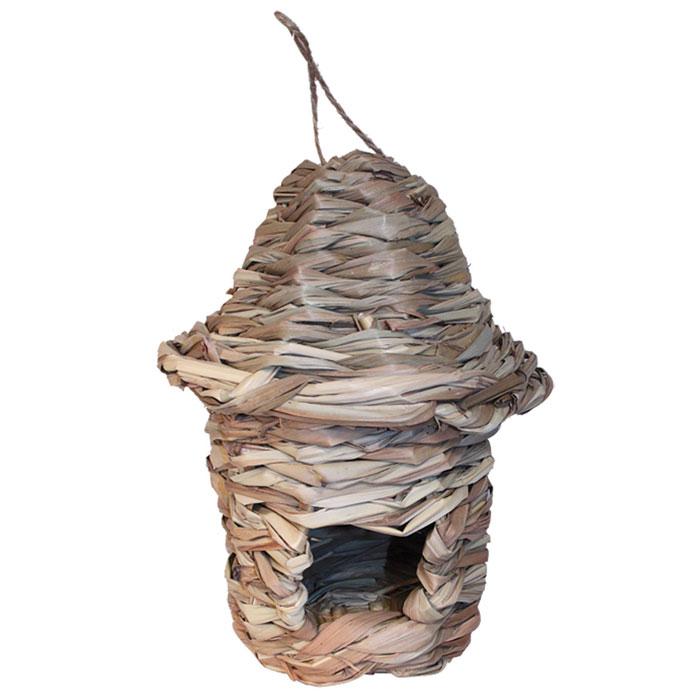Гнездо-домик для птиц Гамма, с фигурной крышейPT9010Гнездо-домик для птиц Гамма сплетен из соломы. В домике есть небольшое отверстие. Для удобного подвешивания предусмотрена петелька из бечевки.Благодаря такому домику вы сможете приютить в своем саду птиц.