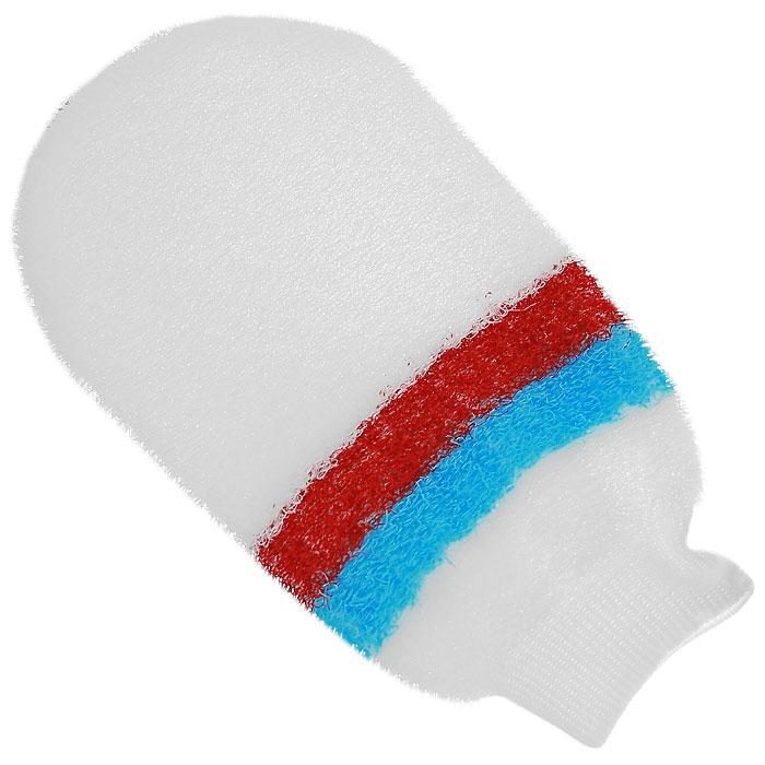 Мочалка-рукавица массажная Riffi, цвет: белый, голубой, красный riffi повязка для волос цвет коралловый