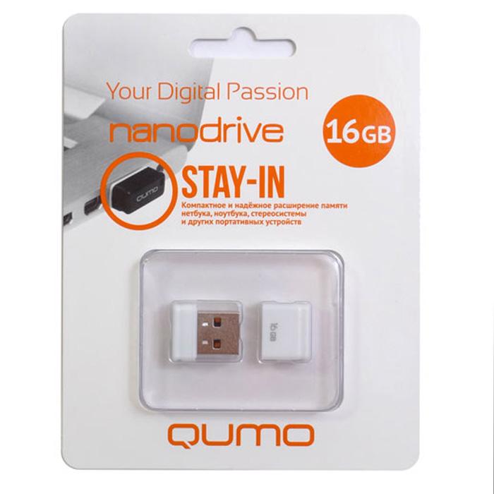 QUMO Nano 16GB, WhiteQM16GUD-NANO-WQUMO Nano USB flash-накопитель отличается своей компактностью, идеально подходит для ноутбуков, нетбуков, а также для прослушивания музыки в автомобилях.