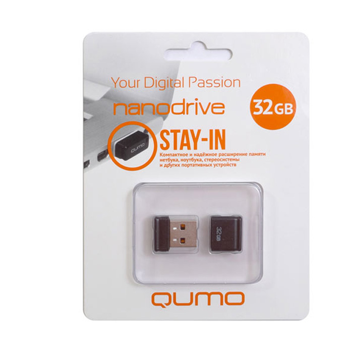 QUMO Nano 32GB, BlackQM32GUD-NANO-BQUMO Nano USB flash-накопитель отличается своей компактностью, идеально подходит для ноутбуков, нетбуков, а также для прослушивания музыки в автомобилях.