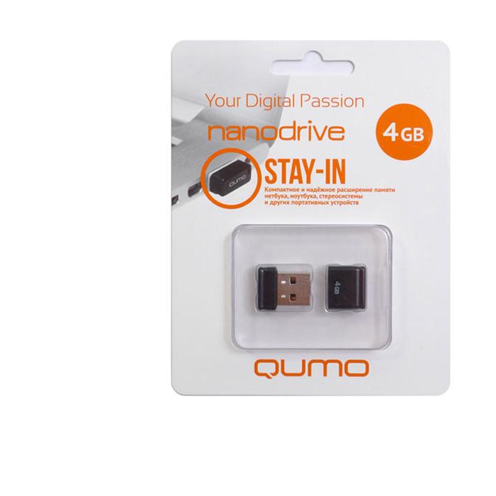 QUMO Nano 4GB, BlackQM4GUD-NANO-BQUMO Nano USB flash-накопитель отличается своей компактностью, идеально подходит для ноутбуков, нетбуков, а также для прослушивания музыки в автомобилях.