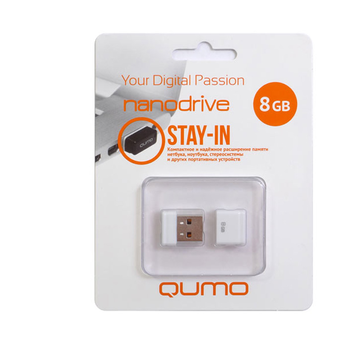 QUMO Nano 8GB, WhiteQM8GUD-NANO-WQUMO Nano USB flash-накопитель отличается своей компактностью, идеально подходит для ноутбуков, нетбуков, а также для прослушивания музыки в автомобилях.