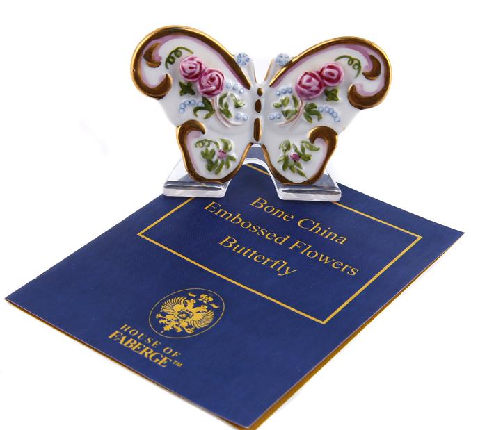 """Статуэтка """"Бабочка"""". Костяной фарфор, гравировка, металл, позолота, House of Faberge, 1991 год"""