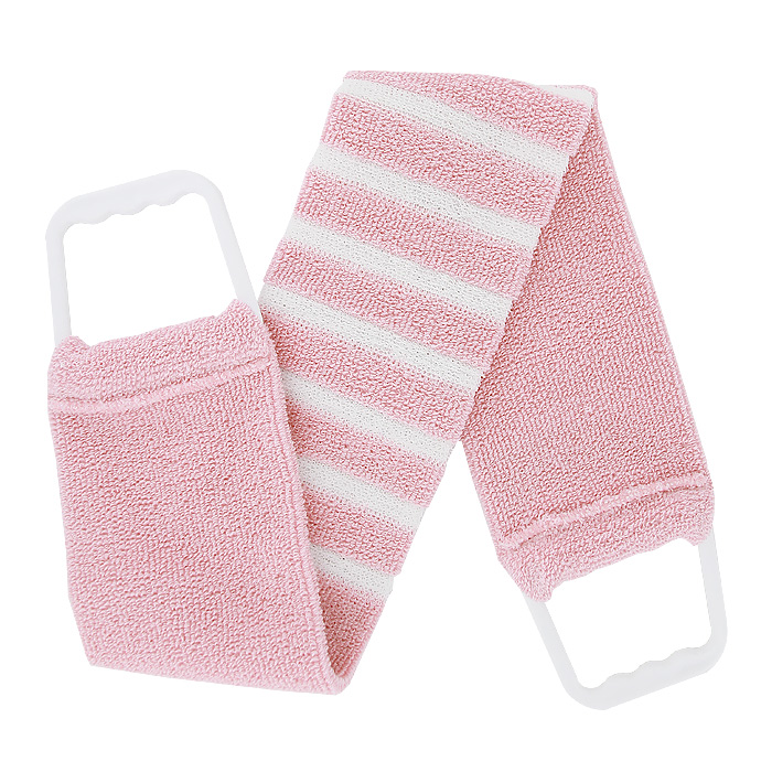 """Мочалка-пояс """"Riffi"""", мягкая, с массажными полосками, цвет: светло-розовый, белый"""
