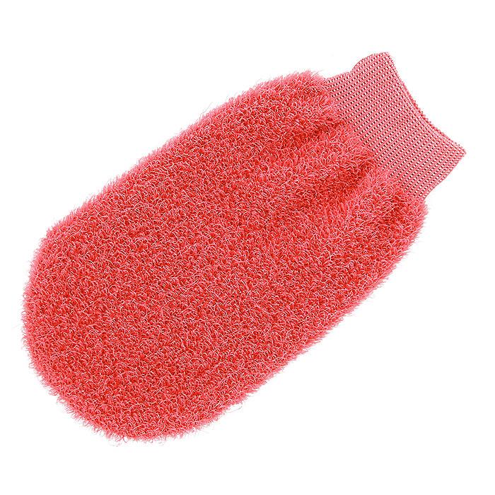 "Мочалка-рукавица ""Riffi"", жесткая, цвет: коралловый"