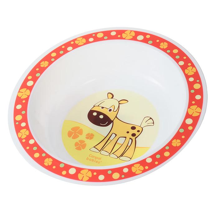 """Яркая тарелка """"Canpol Babies"""" превратит процесс кормления вашего малыша в веселую игру. Глубокая тарелочка оформлена по верхнему краю изображением цветочков и кружочков, а дно оформлено изображением забавной лошадки. Ваш ребенок будет кушать с большим удовольствием, стараясь быстрее добраться до лошадки.   Характеристики:   Размер тарелки: 17,5 см х 17,5 см х 3,5 см. Изготовитель: Китай."""