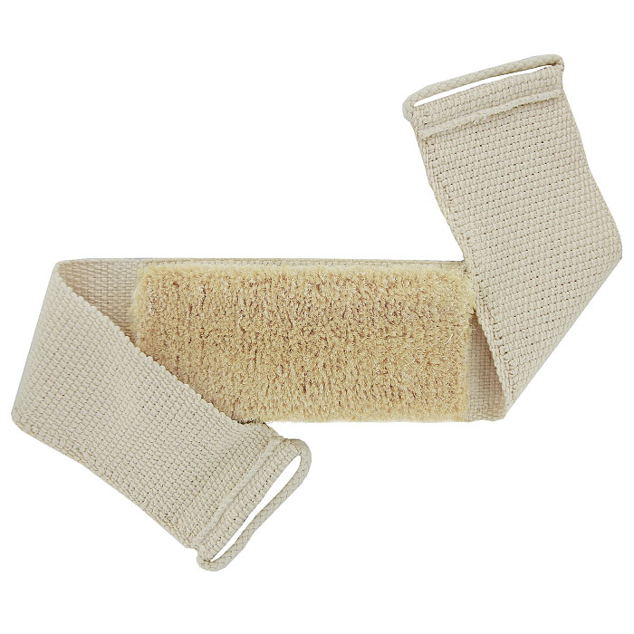 Мочалка-пояс массажная Riffi, с щетиной. 131131Мочалка-пояс Riffi с щетиной используется для мытья тела, обладает активным антицеллюлитным эффектом, отлично действует как пилинговое средство, тонизируя, массируя и эффективно очищая вашу кожу. Сизалевая щетина увеличивает глубину антицеллюлитного и тонизирующего действия массажа на кожу, подкожный слой и мышцы. Мочалку можно использовать для сухого и влажного массажа. Для удобства применения пояс оснащен двумя веревочными ручками.Благодаря отшелушивающему эффекту мочалки-пояса, кожа освобождается от отмерших клеток, становится гладкой, упругой и свежей. Массаж тела с применением Riffi стимулирует кровообращение, активирует кровоснабжение, способствует обмену веществ, что в свою очередь позволяет себя чувствовать бодрым и отдохнувшим после принятия душа или ванны. Riffi регенерирует кожу, делает ее приятно нежной, мягкой и лучше готовой к принятию косметических средств. Приносит приятное расслабление всему организму. Борется со спазмами и болями в мышцах, предупреждает образование целлюлита и обеспечивает омолаживающий эффект. Натуральные и биологически чистые материалы предохраняют от раздражений даже самую нежную и чувствительную кожу во время массажа. Характеристики:Материал пояса: 100% хлопок. Материал щетины: 100% сизаль. Длина пояса (без учета ручек): 81 см. Ширина пояса: 11 см. Размер щетинистой поверхности: 24 см x 10,5 см. Высота щетины: 2 см. Размер упаковки: 30 см x 13,5 см x 4,5 см. Производитель: Германия. Артикул:131. Товар сертифицирован.