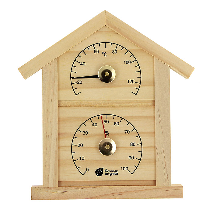 Термометр с гигрометром Домик для бани и сауны18023Термометр с гигрометром Домик выполнен из натурального дерева в виде домика. Максимальная измеряемая температура - 120°C, влажность - 100%.Русский человек любит ходить в баню, а особенно - париться. Однако следует иметь в виду, что превышение температур в парной приводит к определенным побочным эффектам - от головокружения и тошноты, до обострения хронических заболеваний. Избежать такого рода неприятностей вам поможет термометр с гигрометром Домик. Характеристики:Материал: дерево, стекло, металл. Размер домика: 23,5 см х 22,5 см х 1,9 см. Размер упаковки: 29 см х 22,5 см х 3 см. Производитель: Китай. Артикул: 18023.