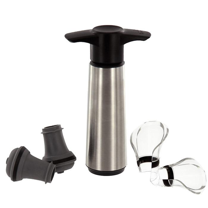 Набор для вина VacuVin: насос, 2 пробки и 2 каплеуловителя набор vacuvin double pestle & mortar пестик двухсторонняя ступка