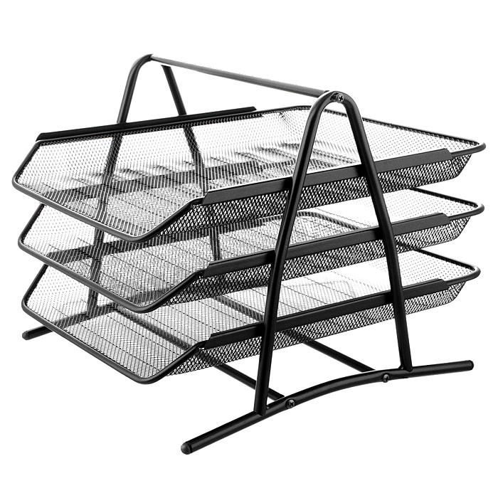 Лоток для бумаг трехуровневый  Erich Krause , цвет: черный -  Лотки, подставки для бумаг