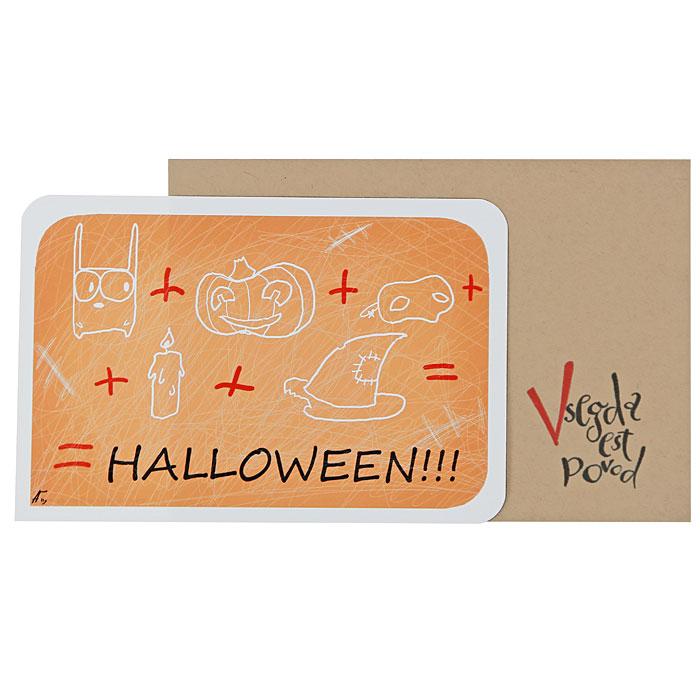 """Авторская открытка оформленная забавными рисунками и надписью """"Halloween!!!"""" станет необычным и ярким дополнением к подарку дорогому и близкому вам человеку или просто добавит красок в серые будни.   Обратная сторона открытки не содержит текста, что позволит вам самостоятельно написать самые теплые и искренние пожелания. К открытке прилагается бумажный конверт """"Vsegda est povod"""".              Характеристики:   Размер:  15 см х 10 см. Материал: бумага. Артикул: H4."""