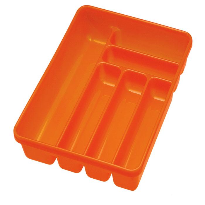 Лоток для столовых приборов Cosmoplast, 6 отделений, цвет: оранжевый2142Лоток для столовых приборов Cosmoplast изготовлен из высококачественного пищевого пластика. Он предназначен для выдвигающихся ящиков на кухне. Лоток имеет шесть отделений: три отделения для вилок, ложек, ножей, два малых отделения для чайных ложек и десертных вилок, одно большое отделение для остальных приборов.Размер большого отделения: 38,5 см х 8 см.Размер средних отделений: 27 см х 6,5 см.Размер маленьких отделений: 20 см х 5 см.