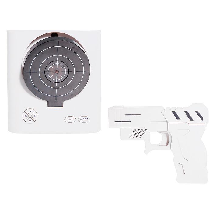 Часы-будильник  Пистолет с мишенью , цвет: белый - Радиобудильники и проекционные часы