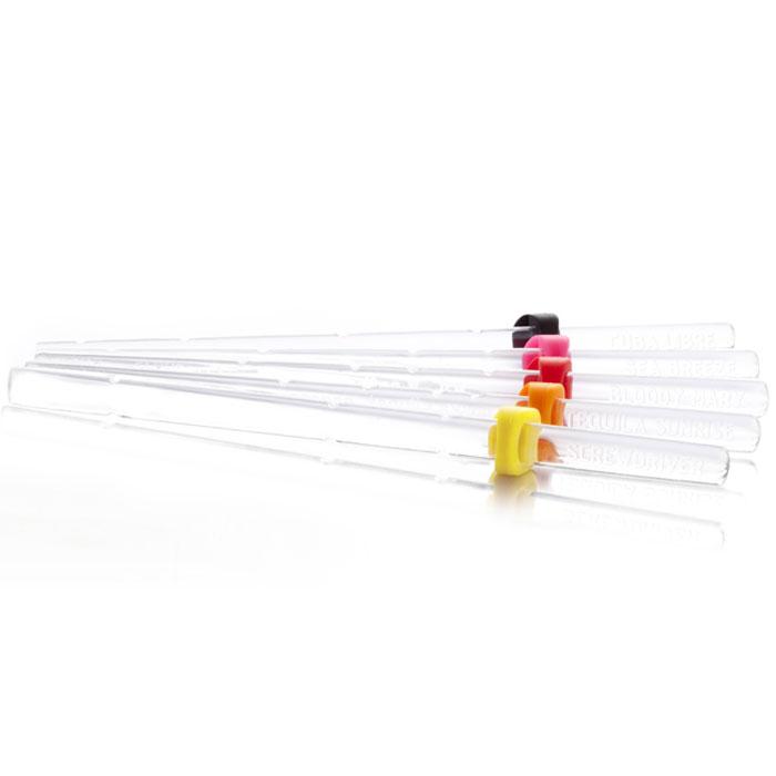 Палочки для коктейлей VacuVin Recipe Sticks, с рецептами, 6 шт7860060Коктейльные палочки VacuVin Recipe Sticks, выполненные из прозрачного пластика, с рецептами предназначены для коктейлей, которые смешиваются непосредственно в стакане. На каждой из шести палочек нанесен свой рецепт и доли ингредиентов для быстрого и простого смешивания коктейля. Палочки специально предназначены для высоких коктейльных стаканов. Выпускается шесть видов палочек с рецептами различных коктейлей. Хотите смешать Том Коллинз, Морской бриз или один из четырех других классических коктейлей? С коктейльными палочками Vacu Vin Recipe Sticks вы мгновенно приготовите изысканные коктейли. Регулируемый резиновый колпачек позволяет прикрепить коктейльную палочку к стакану. Следуйте инструкциям на палочке, а затем используйте ее для перемешивания коктейля.Коктейльные палочки легко мыть и можно использовать многократно. Характеристики:Материал: пластик, резина. Комплектация: 6 шт. Размер палочки: 19 см х 1 см х 0,5 см. Размер упаковки: 22 см х 11 см х 2 см. Производитель: Нидерланды. Артикул: 7860060.