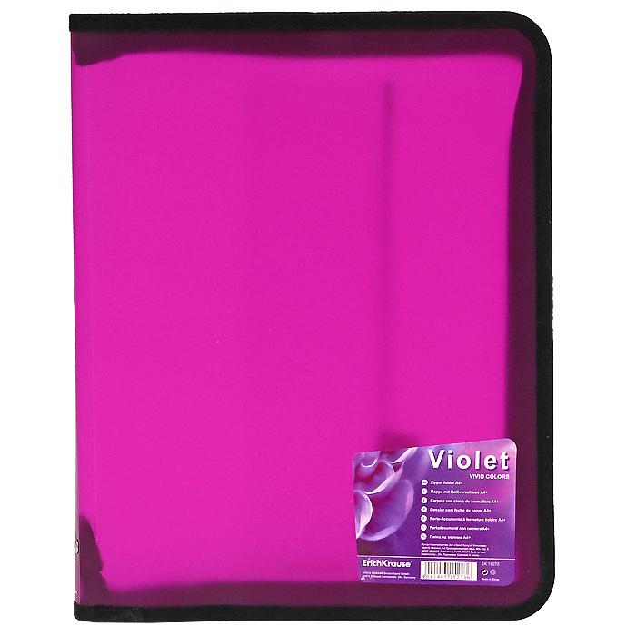 Папка на молнии Erich Krause, формат А4+, цвет: фиолетовый15273Многофункциональная папка на молнии используется для хранения различных бумаг, каталогов, тетрадей, рефератов. Защищает бумагу от повреждений, пыли и влаги. Удобна в поездках. Закрывается на застежку-молнию. Характеристики: Размер: 26 см х 33 см. Цвет:фиолетовый.