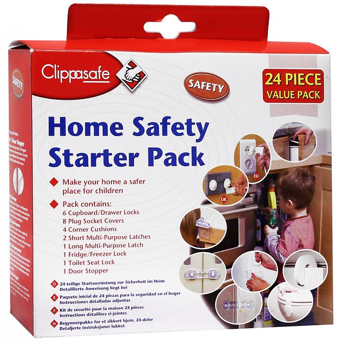 Набор защитных приспособлений для дома Clippasafe, 24 шт защитный замок на холодильник clippasafe цвет белый