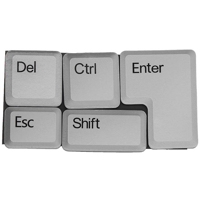 Набор магнитов в виде 5 отдельных кнопок клавиатуры, выполненных из ламинированной бумаги, отлично подойдет для декорации вашего интерьера. Создайте в своем доме атмосферу веселья и радости, украшая его всей семьей. Характеристики:Цвет: белый. Размер магнита Enter: 5 см х 4 см. Размер магнита Esc:  3 см х 2 см. Материал: магнит, ламинированная бумага. Размер упаковки: 11 см х 6 см х 1 см. Артикул: 93723.