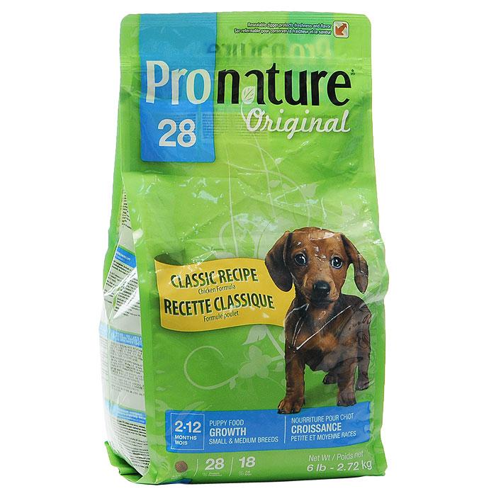 Корм сухой Pronature Classic Recipe для щенков мелких и средних пород, с цыпленком, 2,72 кг