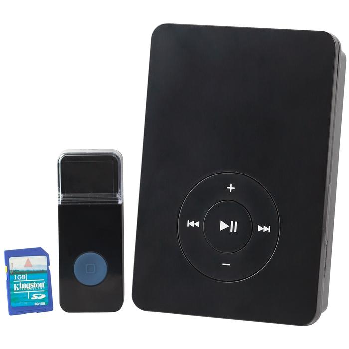 Звонок ЭРА C887 беспроводной звонок MP3, SD картаБ0001793ЭРА C887 - инновационный беспроводной звонок, который можно использовать не только в доме, но и в магазинах, торговых центрах, на улицах и т.д. Такой звонок может воспроизвести запись рекламного содержания и сообщить необходимую для посетителей информацию. Устройство имеет разъем для SD-карты, USB-порт, а также кнопку управления громкостью звонка.