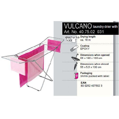 Сушилка для белья Vulcano, напольная, 18 м40.75.02Напольная сушилка для белья Vulcano изготовлена из окрашенной стали серебристого матового цвета с антикоррозийным составом. Сушилку легко использовать: она не требует сборки, разборки, дополнительных деталей. Ее можно установить на балконе или дома. Сушилка оснащена рейками, общая длина которых составляет 18 метров. Пластиковые крепления в основании стоек предотвратят появление царапин на полу. Сушилка идеальна для сушки изделий из шерсти и деликатных тканей. Сушилка для белья легко складывается и в таком состоянии занимает мало места, потому вам легко будет убрать ее в любое удобное для вас место. Характеристики:Материал: сталь, пластик. Размер сушилки в разложенном виде (Д х Ш х В): 180 см х 55 см х 100 см. Размер сушилки в сложенном виде:130 см х 55 см х 5 см. Максимальная рабочая длина:18 м. Артикул: 40.75.02.