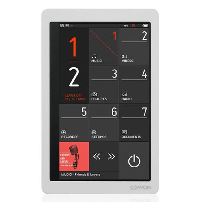 Cowon X9 8GB, WhiteiAudioX9 8GBCowon X9 – самый долгоиграющий плеер в своём классе, работающий до 110 часов в режиме воспроизведения аудио. Устройство поддерживает все типы мультимедиа, в том числе проигрывает видео на большом сенсорном дисплее. Плеер оснащён акселерометром, FM-тюнером, диктофоном, динамиком и слотом для карт памяти MicroSD.Главные отличия X9 от модели-предшественника – Cowon X7 – это увеличенное время работы, уменьшенный вес и флэш-память ёмкостью до 32 Гб вместо жёсткого диска. Также стоит выделить новый динамический интерфейс и обновлённую систему преобразования звука JetEffect 5 (48 настроек эквалайзера, 9 режимов эхо, специальные эффекты включая знаменитый BBE+).