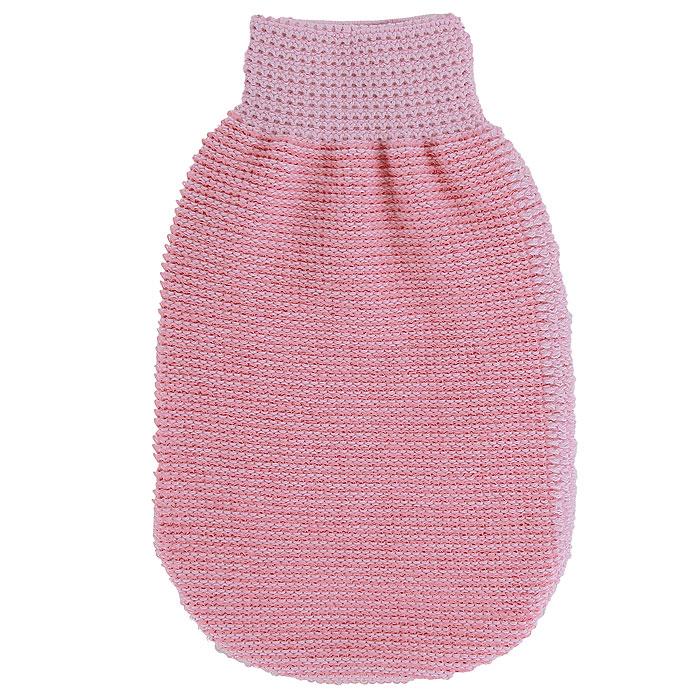 """Мочалка-рукавица массажная """"Riffi"""", двухсторонняя, цвет: розовый, 22 х 13 см"""