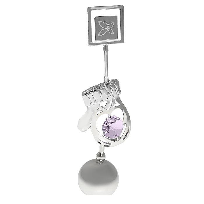 Держатель для визиток Варежка, цвет: серебристый, 11,5 см миниатюра варежка цвет серебристый 6 см