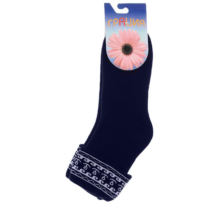 Носки женские Грация, цвет: темно-синий. М 1075 15. Размер 1 (35/37)М 1075 15Носки, изготовленные из высококачественного сырья. Комфортная широкая резинка не сдавливает ногу.Идеально подходят для занятий спортом и активного отдыха!