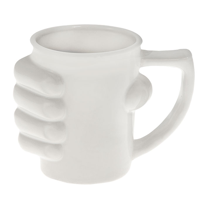 Кружка керамическая Рука, цвет: белый93480Кружка Рука, выполненная из высококачественной керамики, станет отличным подарком для человека, ценящего забавные и практичные подарки. Кружка белого цвета декорирована кистью руки, сжимающей ее. Такой подарок станет не только приятным, но и практичным сувениром: кружка станет незаменимым атрибутом чаепития, а оригинальный дизайн вызовет улыбку. Характеристики:Материал:керамика. Высота кружки:11,5 см. Диаметр по верхнему краю:9 см. Размер упаковки:14 см х 11,5 см х 10 см. Артикул: 93480.