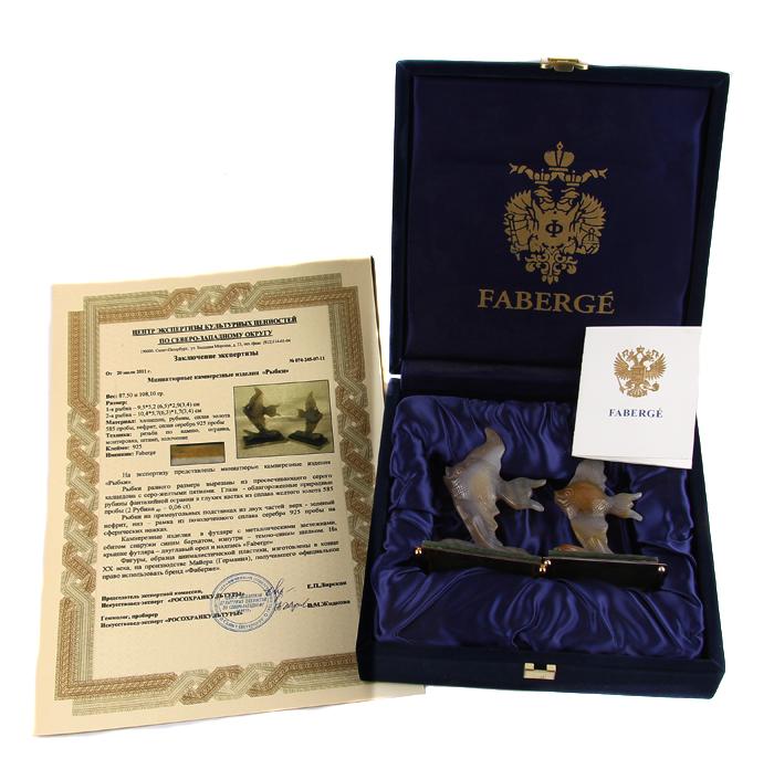 Статуэтка Рыбки. Халцедон, нефрит, белый металл, House of Faberge. Конец XX века статуэтка кролик 30 х 20 х 29 см