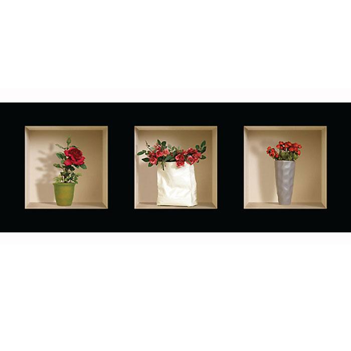 Украшение для стен и предметов интерьера с 3D эффектом Букеты розSKU- 113Декоративные наклейки на стену Nisha - это прекрасный способ обновить интерьер в гостиной, детскойкомнате, спальне, столовой или офисных помещениях. 3D наклейки создают иллюзию ниши срасставленными в них игрушками, цветами, вазами или статуэтками и придают помещению уникальныйдизайн. Добавьте новых красок в монотонность будней! Уникальный дизайн с элементами оптической иллюзии создается на основе обычных фотографий. Длядостижения трехмерного эффекта объекты «помещают» внутрь ниш с помощью специального программногообеспечения. В наклейках использован эффект света внутри ниши, это позволяет зрительно расширитьпомещение, не прибегая к использованию осветительных приборов.Наклейки можно использовать на следующих поверхностях: обои, окрашенные стены, стекло, дерево,пластик и др. Главное требование - поверхность обязательно должна быть ровной. Использование на обояхс фактурной поверхностью возможно только с применением дополнительных склеивающих средств. Рекомендации по выбору стены:- Для получения максимального эффекта лучше всего выбрать стену, которая будет просматриваться срасстояния не менее 3 м.- Поверхность должна быть гладкой, сухой и чистой от загрязнений и пыли.- В случае если вы наклеиваете несколько наклеек рядом, то расстояние между ними должно быть не менее7 см.- Рекомендуется выбирать либо цветную стену либо предварительно ее покрасить цветной краской, так какэффект глубины значительно увеличивается именно на цветных стенах.- Если вы хотите отклеить наклейку, а затем вновь приклеить, отклеивайте ее очень аккуратно, для тогочтобы избежать загибания углов.- Если наклейка приклеивается на высоте более 2 м, то необходимо отрезать ее нижнюю часть острымножом перед наклеиванием. Если высота наклеивания меньше 1,5 м, то необходимо обрезать верхнюючасть наклейки.Характеристики:Материал: самоклеющаяся пленка. Количество листов: 3 шт. Размер наклейки: 32 см х 32 см. Размер упаковки: 45 см х 33 с