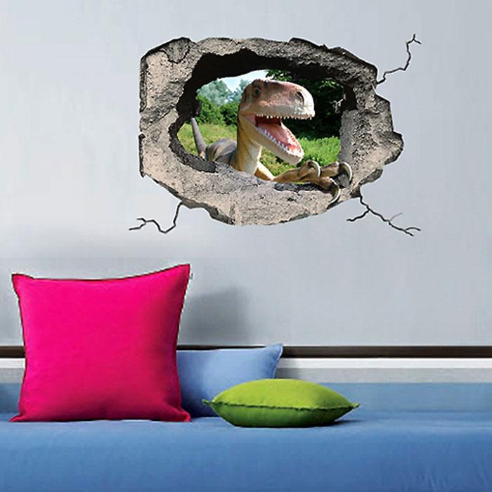 Украшение для стен и предметов интерьера с 3D эффектом Hole ДинозаврSKU-601Декоративные наклейки на стену Nisha - это прекрасный способ обновить интерьер в гостиной, детской комнате, спальне, столовой или офисных помещениях. Уникальный дизайн с элементами оптической иллюзии создается на основе обычных фотографий. Для достижения трехмерного эффекта объекты «помещают» внутрь ниш с помощью специального программного обеспечения. Наклейки можно использовать на следующих поверхностях: обои, окрашенные стены, стекло, дерево, пластик и др. Главное требование - поверхность обязательно должна быть ровной. Использование на обоях с фактурной поверхностью возможно только с применением дополнительных склеивающих средств.Рекомендации по выбору стены:- Для получения максимального эффекта лучше всего выбрать стену, которая будет просматриваться с расстояния не менее 3 м.- Поверхность должна быть гладкой, сухой и чистой от загрязнений и пыли.- В случае если вы наклеиваете несколько наклеек рядом, то расстояние между ними должно быть не менее 7 см.- Рекомендуется выбирать либо цветную стену либо предварительно ее покрасить цветной краской, так как эффект глубины значительно увеличивается именно на цветных стенах.- Если вы хотите отклеить наклейку, а затем вновь приклеить, отклеивайте ее очень аккуратно, для того чтобы избежать загибания углов. Характеристики:Материал: самоклеющаяся пленка. Количество листов: 1 шт. Размер наклейки: 48 см х 33 см. Размер упаковки: 48 см х 33 см. Артикул: SKU 601.