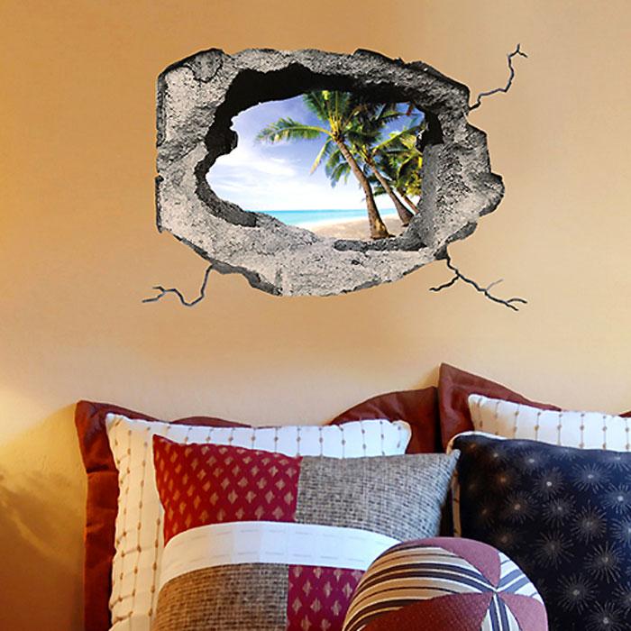 Украшение для стен и предметов интерьера с 3D эффектом Hole Тропический островSKU-625Декоративные наклейки на стену Nisha - это прекрасный способ обновить интерьер в гостиной, детской комнате, спальне, столовой или офисных помещениях. Уникальный дизайн с элементами оптической иллюзии создается на основе обычных фотографий. Для достижения трехмерного эффекта объекты «помещают» внутрь ниш с помощью специального программного обеспечения. Наклейки можно использовать на следующих поверхностях: обои, окрашенные стены, стекло, дерево, пластик и др. Главное требование - поверхность обязательно должна быть ровной. Использование на обоях с фактурной поверхностью возможно только с применением дополнительных склеивающих средств.Рекомендации по выбору стены:- Для получения максимального эффекта лучше всего выбрать стену, которая будет просматриваться с расстояния не менее 3 м.- Поверхность должна быть гладкой, сухой и чистой от загрязнений и пыли.- В случае если вы наклеиваете несколько наклеек рядом, то расстояние между ними должно быть не менее 7 см.- Рекомендуется выбирать либо цветную стену либо предварительно ее покрасить цветной краской, так как эффект глубины значительно увеличивается именно на цветных стенах.- Если вы хотите отклеить наклейку, а затем вновь приклеить, отклеивайте ее очень аккуратно, для того чтобы избежать загибания углов. Характеристики:Материал: самоклеющаяся пленка. Количество листов: 1 шт. Размер наклейки: 48 см х 33 см. Размер упаковки: 48 см х 33 см. Артикул: SKU 625.