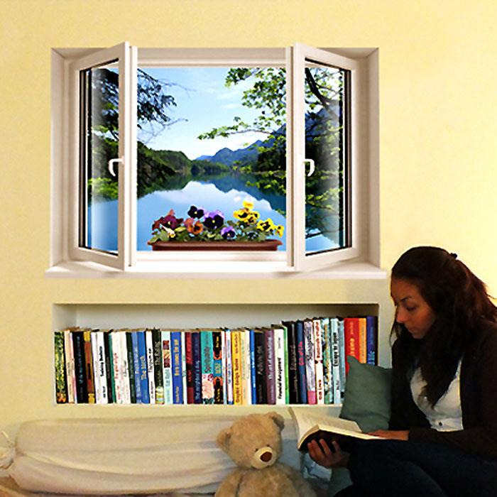 Украшение для стен и предметов интерьера с 3D эффектом Window Лесное озероSKU-892Декоративные наклейки на стену Nisha - это прекрасный способ обновить интерьер в гостиной, детской комнате, спальне, столовой или офисных помещениях.Уникальный дизайн с элементами оптической иллюзии создается на основе обычных фотографий. Для достижения трехмерного эффекта объекты «помещают» внутрь ниш с помощью специального программного обеспечения.Наклейки можно использовать на следующих поверхностях: обои, окрашенные стены, стекло, дерево, пластик и др. Главное требование - поверхность обязательно должна быть ровной. Использование на обоях с фактурной поверхностью возможно только с применением дополнительных склеивающих средств.Рекомендации по выбору стены: - Для получения максимального эффекта лучше всего выбрать стену, которая будет просматриваться с расстояния не менее 3 м. - Поверхность должна быть гладкой, сухой и чистой от загрязнений и пыли. - В случае если вы наклеиваете несколько наклеек рядом, то расстояние между ними должно быть не менее 7 см. - Рекомендуется выбирать либо цветную стену либо предварительно ее покрасить цветной краской, так как эффект глубины значительно увеличивается именно на цветных стенах. - Если вы хотите отклеить наклейку, а затем вновь приклеить, отклеивайте ее очень аккуратно, для того чтобы избежать загибания углов. - Если наклейка приклеивается на высоте более 2 м, то необходимо отрезать ее нижнюю часть острым ножом перед наклеиванием. Если высота наклеивания меньше 1,5 м, то необходимо обрезать верхнюю часть наклейки. Характеристики:Материал: самоклеющаяся пленка. Количество листов: 1 шт. Размер наклейки: 99 см х 68 см. Размер упаковки: 71 см х 8 см х 8 см. Артикул: SKU 892.