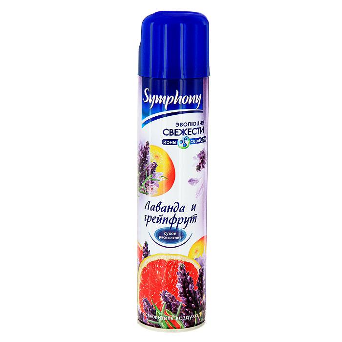 Освежитель воздуха Symphony Лаванда и грейпфрут, 300 мл46 00104 00822 1Освежитель воздуха Symphony Лаванда и грейпфрут - утонченный аромат лаванды, усиленный нотами розового грейпфрута.В состав освежителя входят натуральные компоненты и ионы серебра, поэтому они быстро и эффективно блокируют молекулы неприятного запаха, а система сухого распыления не оставляет пятен на поверхности.Освежитель воздуха Symphony Лаванда и грейпфрут наполнится воздух вашего уютного дома нежным и ненавязчивым ароматом. Характеристики:Объем: 300 мл.