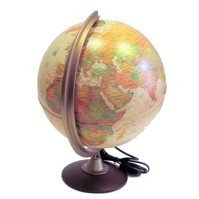 Глобус Colombo, с политической картой мира, с подсветкой. Диаметр 30 см0330COLГлобус Colombo в античном стиле с политической картой мира выполнен в высоком качестве, с четким и ярким изображением. Он даст представление о политическом устройстве мира. На нем отображены линии картографической сетки, показаны границы государств и демаркационные линии, столицы и крупные населенные пункты, линия перемены дат. Легко вращается вокруг своей оси, снабжен стилизованным под металл меридианом с градусными отметками и лупой. Подставка изготовлена из дерева. Глобус имеет функцию подсветки от электрической сети, при включении которой становятся видны маршруты путешествий Магеллана, Кука, Васко де Гаммы и др.Надписи на глобусе сделаны на русском языке. Характеристики: Диаметр глобуса: 30 см. Общая высота:42 см. Диаметр подставки: 16 см. Размер упаковки: 31 см х 41 см х 31 см.