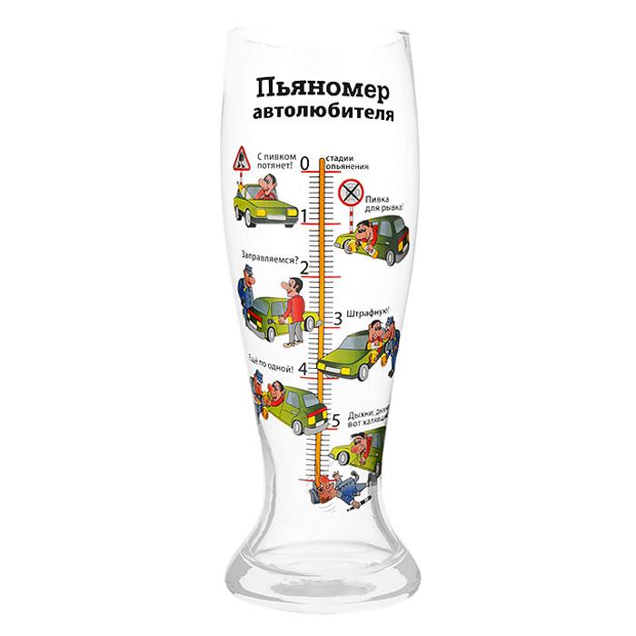 Бокал пивной Пьяномер автолюбителя, 1,5 л93778Пивной бокал Пьяномер автолюбителя, выполненный из стекла, понравится любителям пенного напитка, веселых посиделок, отвязных вечеринок и искрометных пикников! Оригинальный бокал в вашей руке превращает заурядную встречу в незабываемый вечер. Бокал оформлен шкалой с изображением забавных картинок на автомобильную тематику и веселыми комментариями к ним. Характеристики:Материал: стекло. Объем бокала: 1,5 л. Высота бокала: 29,5 см. Диаметр по верхнему краю:9 см. Размер упаковки:11 см х 30 см х 11 см. Артикул: 93778.