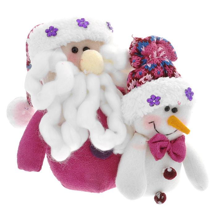 Новогоднее украшение Санта и снеговик, цвет: сиреневый украшение новогоднее оконное magic time дед мороз с самоваром двустороннее 30 х 32 см