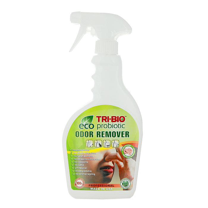 """Биосредство для удаления неприятных запахов """"Tri-Bio"""" - профессиональное средство, моментально и полностью уничтожает неприятные запахи в местах скопления мусора, общественных туалетах, автомобильных салонах, спортивных залах, больницах, обуви и любых местах, где есть проблемы с неприятным запахом. Ликвидирует неприятные запахи, не маскируя их, а устраняя их причину. Характеристики:  Объем: 420 мл.  Артикул: 0270."""