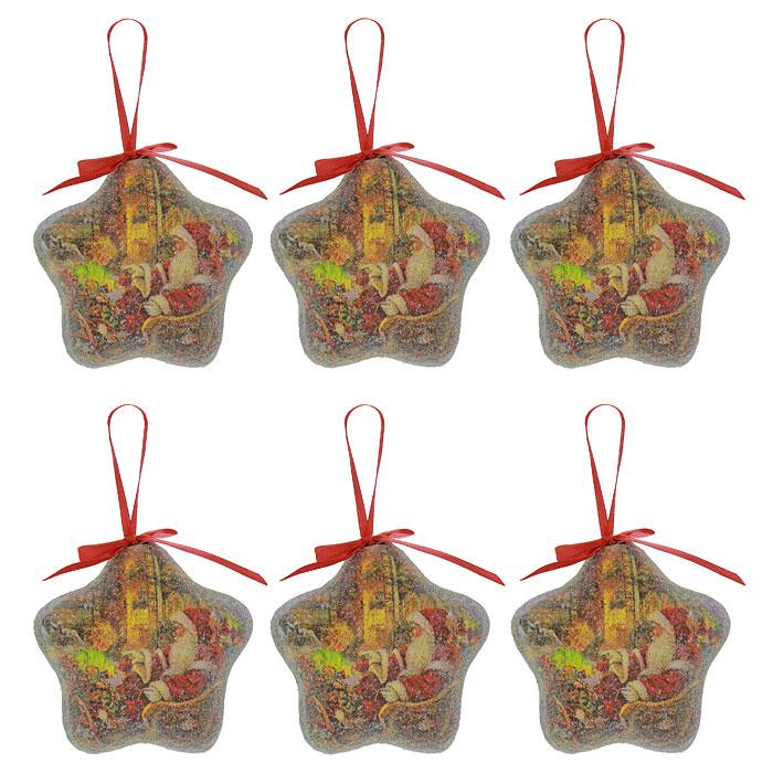 """Оригинальные елочные украшения """"Звезды"""", выполненные в форме звезды из пластика с матовым покрытием, декорированы блестками и изображением в виде Деда Мороза с подарками. Такие украшения легки и удобны при оформлении елки, они не разобьются и более долговечны. В свете новогодних гирлянд игрушки будут таинственно мерцать, сиять, и радовать своей красотой всех окружающих.  Елочная игрушка - символ Нового года. Она несет в себе волшебство и красоту праздника. Создайте в своем доме атмосферу веселья и радости, украшая всей семьей новогоднюю елку нарядными игрушками, которые будут из года в год накапливать теплоту воспоминаний. Характеристики:Материал:  пластик. Диаметр звезды: 8 см. Размер упаковки: 24 см х 8,5 см х 7,5 см. Комплектация: 6 шаров. Изготовитель: Китай. Артикул: Ф21-2150."""